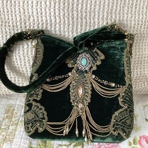MARY FRANCES GREEN VELVET PURSE